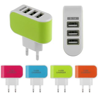 KSJ 3 USB/ Triple USB Mobile Fast Charger for Smartphones - Assorted Colors