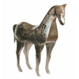 Metalcrafts metallic horse showpiece, tee light, 25 cm