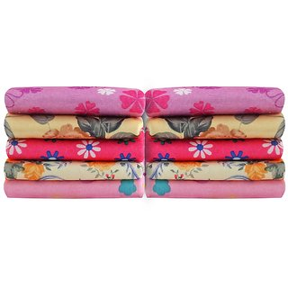 Home Delight Cotton Abstract Pattern Pack of 10 Multicolor Face Towel (25cmx25cm)