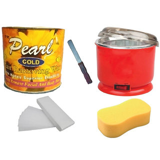 DDH Cold Wax + 90 Wax Strips Pack + Wax Auto Cut Heater + Sponge and Free Knife