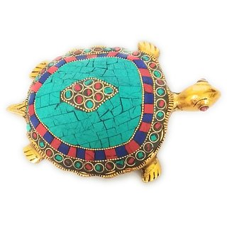 Metalcrafts Tortoise, metal gold plated, Nepali stone work, Vastu friendly, 15 cm