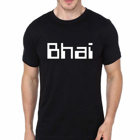 DOUBLE F ROUND NECK HALF SLEEVE BLACK COLOR BHAI PRINTED T-SHIRTS FOR MEN