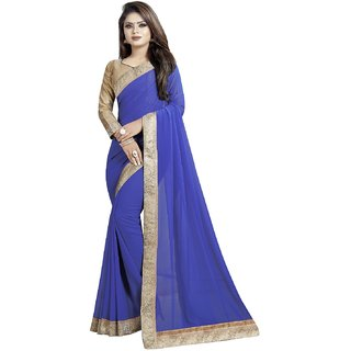 Great Rate Women's Georgette Lace Border Saree (Anushka Blue_Free Size)