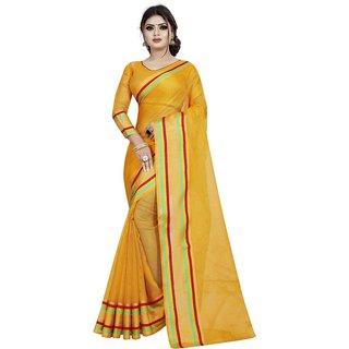 Great Rate Women's Silk Checkered Saree (Munga 01 Yellow_Free Size)
