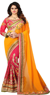 bhavna creation's exclusive collection of yellow and pink georgette embroidered saree