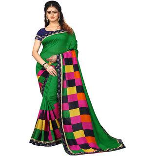 bhavna creation's exclusive collection of dark green coloured vichitra silk saree with multi checks