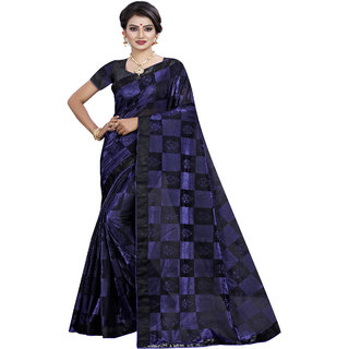 bhavna creation's exclusive collection of blue and black checks georgette saree