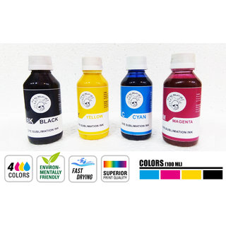 Crazy Sutra Superior Sublimation Ink 4 Color Black, Yellow, Cyan And Magenta Each 100 ml. For Inkjet Printer  Use with Epson Printer