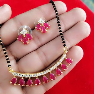 DiMiKi Design Latest Traditional PINK Ruby Gold Plated 18 Inches Chain Mangalsutra For Women