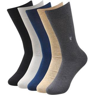 Balenzia Men's Embroidered Premium Mercerised Cotton Socks -Black, Dark Grey, Light Grey, Navy, Beige- Pack of 5
