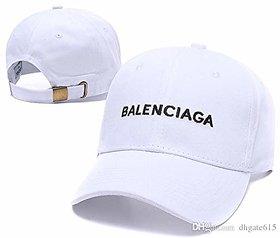 Unisex Cotton High Quailty Adjustable Caps Hats Sports Tennis Baseball Cap(Balenciaga-White)