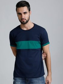 Stylogue Men's Blue Self Design Round Neck T-shirts