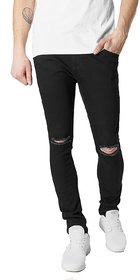 EditLook Men Black Distressed Slim Fit Mid Rise Jeans