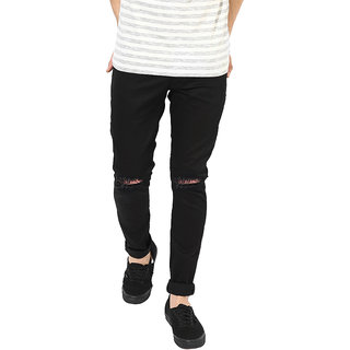 EditLook Men Distressed Black Slim Fit Jeans