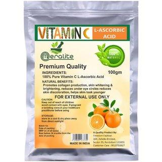 Meralite L-Ascorbic Acid Powder Vitamin C For Use in Serums and Cosmetic Formulations (100 g) (ML-ASCORBIC ACID 100GM)