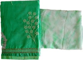 Amisvi Women's Salwar Suit Dress Material Cotton Thread Work Embroidery (AT-0004, Green, Free Size)