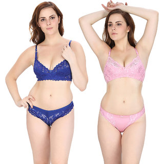 Pinkbox Women's Pink and Bra & Panty Set - Pack of 2
