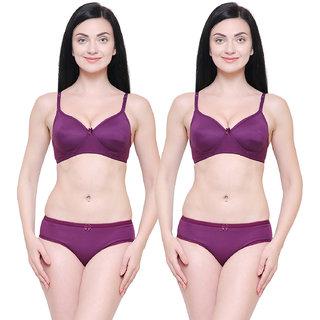 Pinkbox Women's Purple Bra & Panty Set - Pack of 2