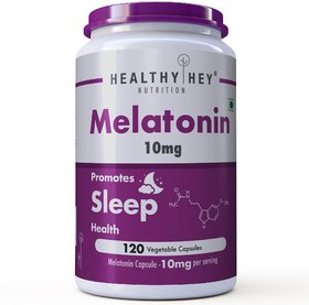 HealthyHey Nutrition Sleep Aid Melatonin 10mg, 120 vegetable capsules - Promotes Sleep and Relaxation