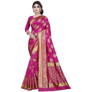 Great Rate Women's Banarasi Silk Jacquard Work Saree (Jacquard Dt 27 Pink)