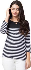Black Color Striped, Round Neck 3/4 Sleeve Trendy Women's T-Shirt 5248Black