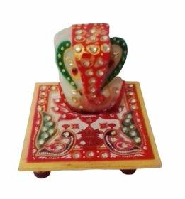 Metalcrafts chowki Ganesh, marble, meena work, worshipping God, 10 cm