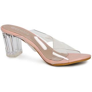Estatos Pink Open Toe Cross Strap Party Wear Heel Sandals