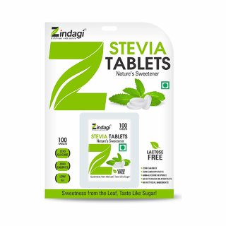 Zindagi Stevia Tablets - Stveia White Powder Tablets - Sugarfree Stevia Powder Tablets 100 Tabelts