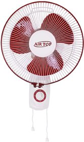 AIRTOP  Hi-Speed Copper Plated 3 Blade Wall Fan 12-Inch (300 mm), High Grade ABS, White Ivory Cherry, Speed Swing Cord