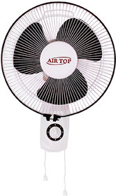 AIRTOP  Hi-Speed Copper Plated 3 Blade Wall Fan 12-Inch (300 mm), High Grade ABS,White Black , Speed Swing Cord