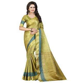 Attarctive Looking Woven Banarasi Cotton Silk Saree  (Mehandi)