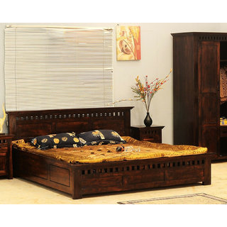 Soni Art Exports Brown Color Solid Wood Bed 84x80x38 inch