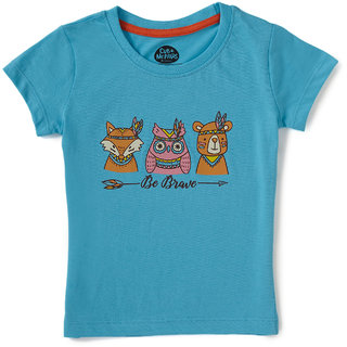 Brilliant Basics by Cub McPaws Girls T Shirt, Round Neck, 4 to 8 Years (Capri Blue )