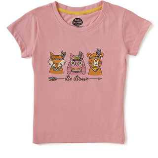 Brilliant Basics by Cub McPaws Girls T Shirt, Round Neck, 4 to 8 Years (Quartz Pink )