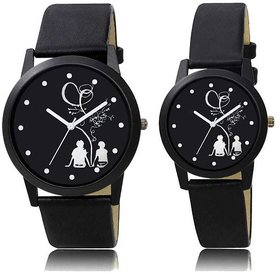 Couple Black Leather Belt Best Designing Stylist Looking Analog Couple Watch
