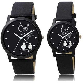 Couple Black Leather Belt Best Designing Stylist Looking Analog Couple Watch