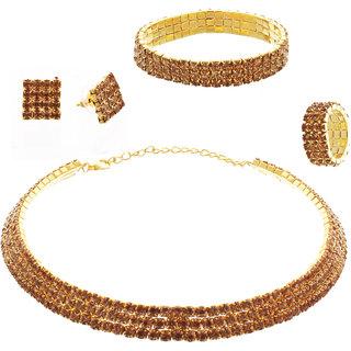 Lucky Jewellery Elegant Designer Red Color 3-Line Stone Hasli Choker Kanthi Necklace With Tops Earring, 1 bracelet and 1 Finger ring For Girls  Women (400-CHSI-LJ672-RED)