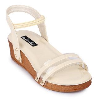 Funku Fashion Women's Ankle Strap Platform Heel Beige Wedges