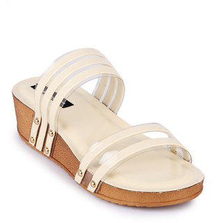 Funku Fashion Women's Slip On Platform Heel Beige Wedges