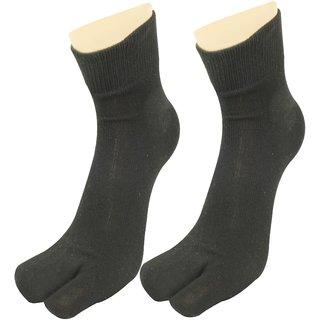 Neska Moda Women 1 Pair Black Ankle Length Thumb Socks S1255