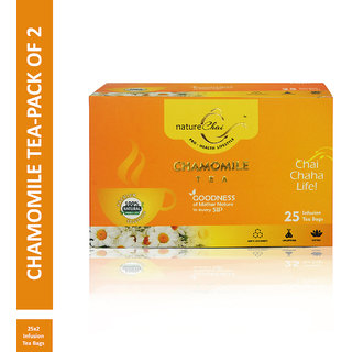 Nature Chai Chamomile Green Tea - 25 Tea Bags (Pack of 2)