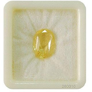 5.25 Ratti Yellow Sapphire Stone Original  Pukhraj Gemstone By Lab Certified