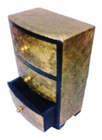 Metalcrafts Wooden box with 3 drawers, brass patra fitted, 30 cm