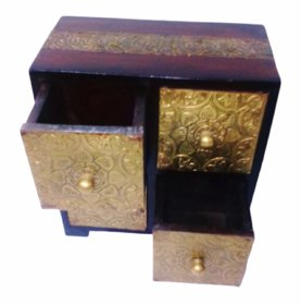 Metalcrafts Wooden box with 4 drawers, brass patra fitted, 25 cm