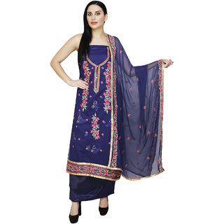 Shreemanya Women Ethnic Dress Material Blue Chanderi Suit (Salwar suit Dupatta UnStitched)
