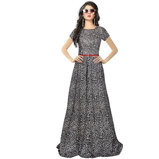 Florence Black Crepe Printed Stitched Gown