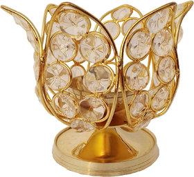 Decorate India Small Crystal Lotus Akhand diya Brass, Crystal Table Diya 4 inch