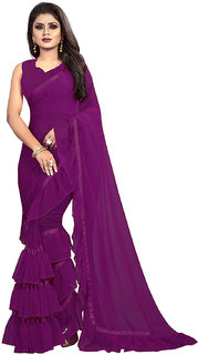 MMW Women's Georgette Frill Ruffle Saree With Unstitched Blouse Piece (More colored available)