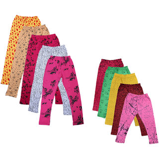IndiWeaves Girls Cotton Printed Capri and Legging (Pack of 10)