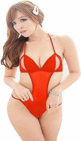 Billebon Women's Net Baby Doll Lingerie Sleepwear Dress (Red, Free Size)
